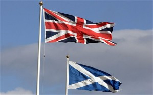 Union Jack and The Flag of Scotland