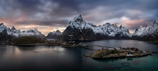 Reinefjorden by Wojciech Kruczynski Panorama of Reine (Lofoten) made from three frames.