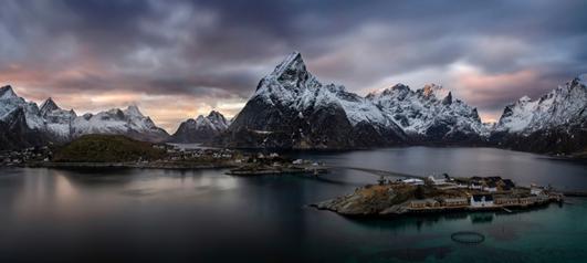 Reinefjorden by Wojciech Kruczynski Panorama of Reine (Lofoten) made from three frames.