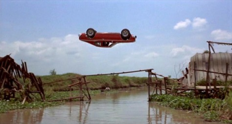 The famous cork-screw car jump from The Man with the Golden Gun (1974)