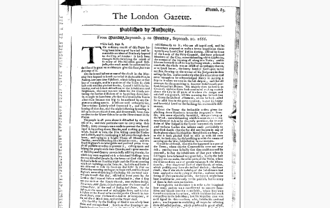 The London Gazette from 3 September 1666