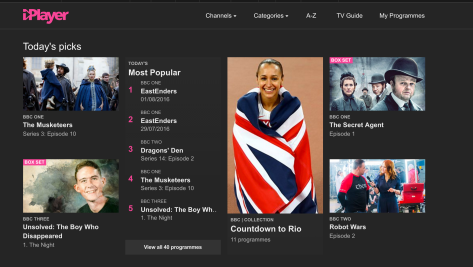 iPlayer screen